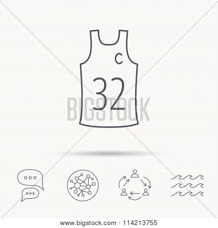 Team captain icon. Basketball shirt sign.
