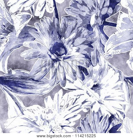 art vintage monochrome watercolor floral seamless pattern with white and blue lilies and gerberas on background