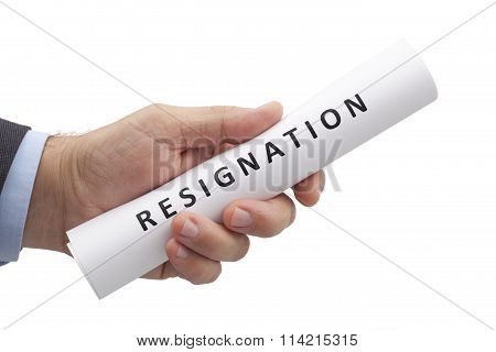 Letter Of Resignation In A Hand With Clipping Path