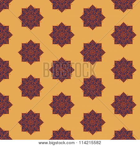 Seamless pattern with ethnic rosettes on a sand background