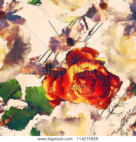 art vintage watercolor floral seamless pattern with white and orange gold roses and asters on white background