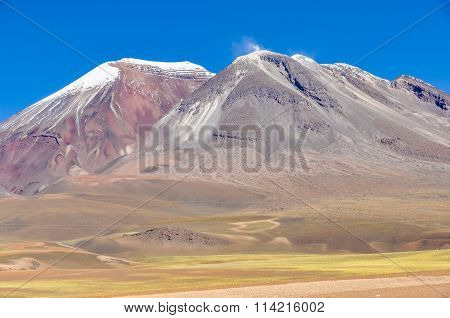 Colorful Volcanoes In The High Andean Plateau In Bolivia