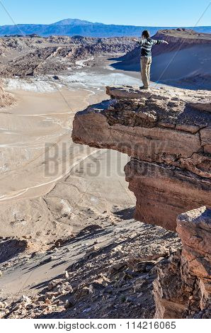 No Fear Of Heights In The Coyote Rock In The Atacama Desert, Chile
