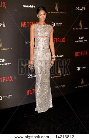 BEVERLY HILLS, CA - JAN. 10: Chanel Iman arrives at the Weinstein Company and Netflix 2016 Golden Globes After Party on Sunday, January 10, 2016 at the Beverly Hilton Hotel in Beverly Hills, CA.