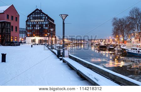 Half-timbered building located in the Old Town district. Klaipeda, Lithuania