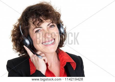 Close Up Portrait Of Woman Customer Service Worker, Call Center