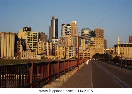 Minneapolis Skyline And Walkway.