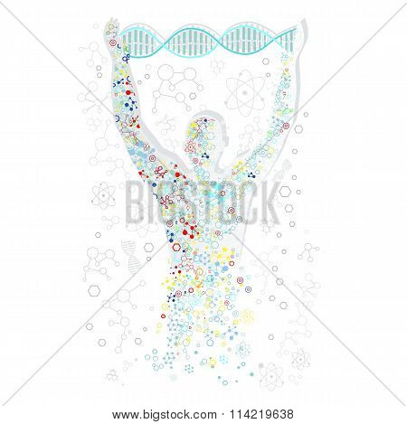 Form Man with Human DNA. Concept Scientific