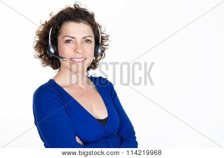 Happy Smiling Cheerful Support Phone Operator In Headset,