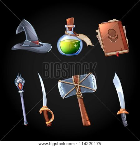 Cartoon fantasy magic and weapons vector icons set for computer game