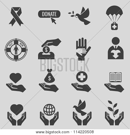 Charity and donation black icons vector set
