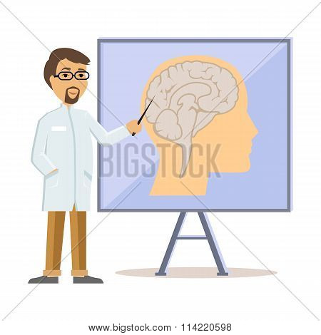 Doctor Showing Human Brain Flat Design