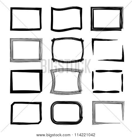 Rectangular frames. Felt-tip pen and marker style vector set