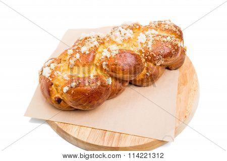 Sweet braided bread with crunchy sugar.