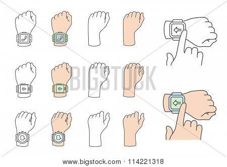 Smart watch gestures. Hands with smart watches. Vector illustrations