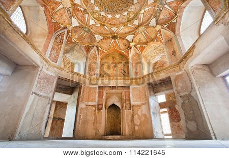 Cozy Hall Of Persian Palace Hasht Behesht With Frescos On Walls In Isfahan