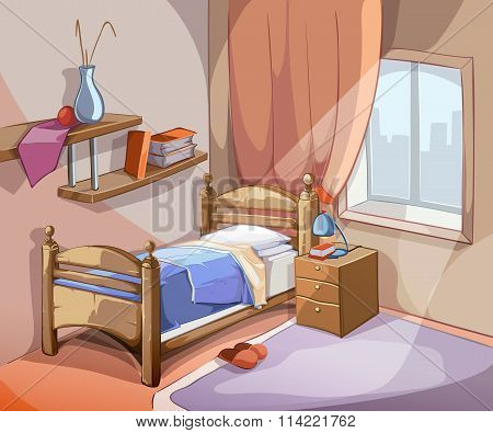 Bedroom interior in cartoon style. Vector illustration