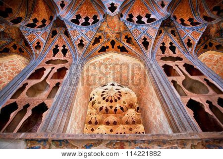 Design Of Walls With Music Instruments Patterns In Famous Palace In Isfahan