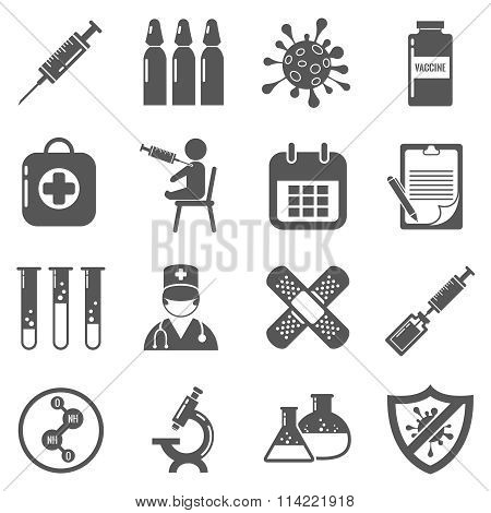 Vaccinations vector black icons set