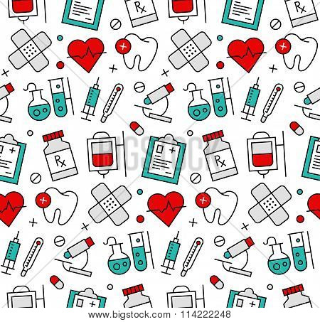 Medicine Elements Seamless Icons Pattern