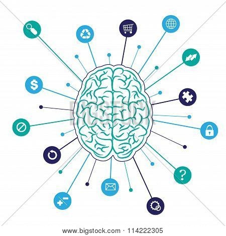 Brain background with icons