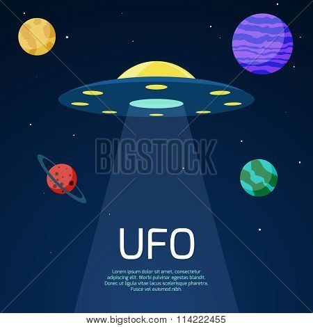 Abstract space background with ufo spaceship