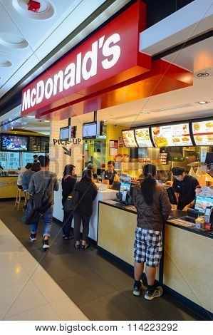 HONG KONG - DECEMBER 25, 2015: interior of McDonald's restaurant. McDonald's is the world's largest chain of hamburger fast food restaurants, founded in the United States.