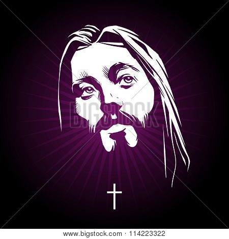 Jesus face. Vector portrait