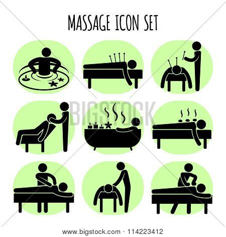 Massage vector black icons set