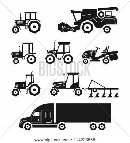 Tractors and combine harvesters vector icons set. Agricultural transport collection