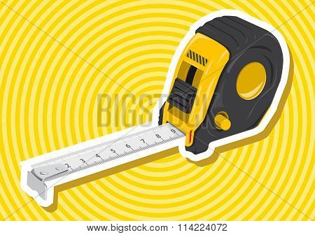 Nice yellow golden measure tape roulette meter with outline border construction tools on yellow