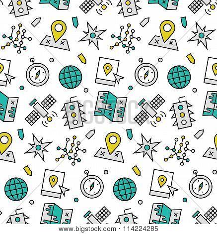 Navigation Elements Seamless Icons Pattern