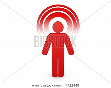 Red Spiritual Man With Visible Color Aura