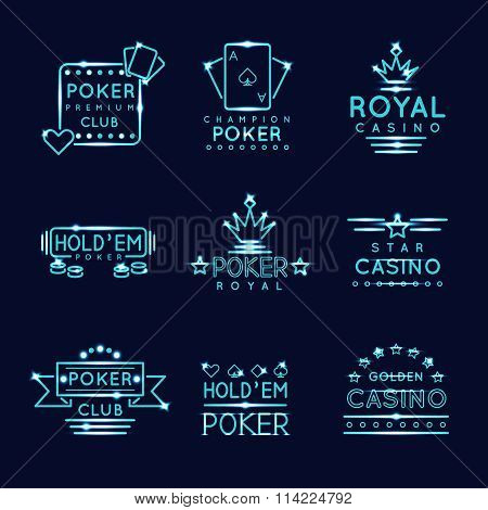 Vintage neon hipster poker club and casino signs