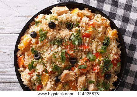 Couscous With Meat And Vegetables Close-up. Horizontal Top View