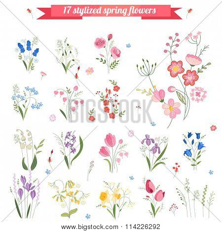 Collection of different stylized spring flowers.  Cute floral elements for your design, easter greeting cards, announcements, posters,advertisement.