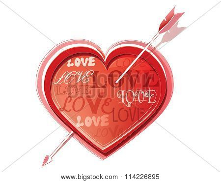 Heart struck by Cupid's arrows. Vector illustration