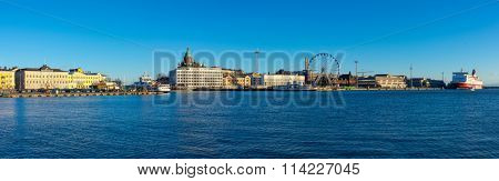 HELSINKI, FINLAND - DECEMBER 26: Helsinki harrbor landscape at day time on December 26, 2015 in Helsinki, Finland