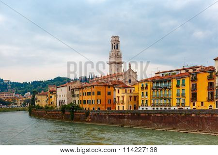Adige in cloudy summer day, Verona, Italy