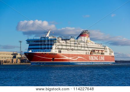 HELSINKI, FINLAND - DECEMBER 26, 2015: Viking Line ferry docks in the harbor on December 26, 2015 in Helsinki, Finland
