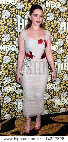 LOS ANGELES - JAN 10:  Emilia Clarke at the HBO Golden Globes After Party 2016 at the Beverly Hilton on January 10, 2016 in Beverly Hills, CA
