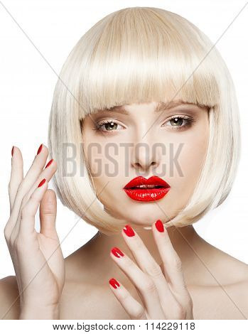 Portrait Of A Beautiful Woman In Short Blond Bob Wig