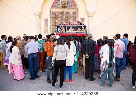 Tourists Watching Puppet Play, Rajasthan, India