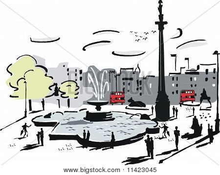 Trafalgar Square London illustration