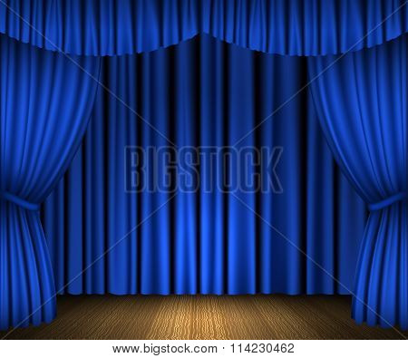 Blue open curtains