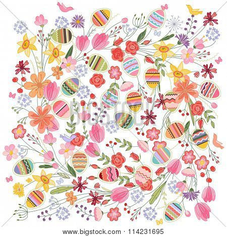 Easter square  pattern with contour flowers and eggs on white. Template for easter design, announcements, greeting cards, posters, advertisement.