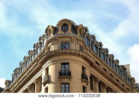 Parisian typical building of the 9th arrondissement in Paris, France