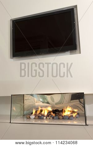Modern Fireplace Under A Tv