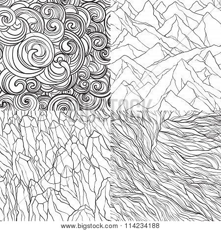 Vector Set Of Abstract Seamless Patterns