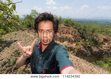 Man Selfie With Doi Tok Grand Canyon In Mae Wang National Park,